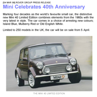Rover Group Press Release - Mini Celebrates 40th Anniversary - 0
