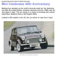 Rover Group Press Release - Mini Celebrates 40th Anniversary - 0